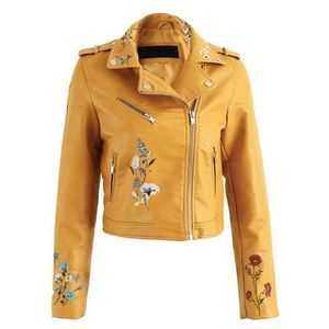NWT GORGEOUS! Embroidered Vegan Yellow Jacket